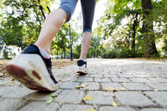 Closeup of female feet while jogging Stock Image