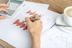 Closeup of female financial adviser looking at graphs Royalty Free Stock Photos