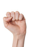 Closeup of female hand closed clenched fist rebel sign Royalty Free Stock Image