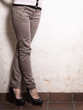 Closeup of female legs in fashionable high heels Royalty Free Stock Photo