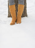 Closeup on female legs in winter boots on snow Royalty Free Stock Photo