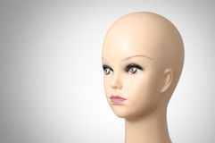 Closeup of a female mannequin head. Mannequin head on grey background with copyspace Stock Photography
