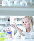 Closeup of a female researcher Stock Images