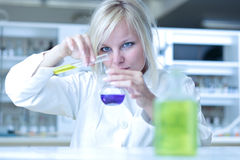 Closeup of a female researcher in a lab. Closeup of a female researcher holding a test tube and a retort/beaker and carrying out some experiments in a laboratory Stock Photography