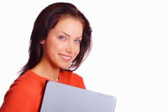 Closeup of female student with laptop and copy Royalty Free Stock Images
