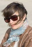 Closeup of a female in sunglasses Stock Image