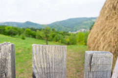 closeup of a fence with garden and hay in the background Royalty Free Stock Photo