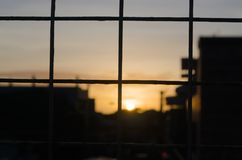 Closeup fence during sunset Royalty Free Stock Photos