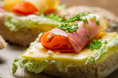 Closeup of fesh sandwich with lettuce, cheese and ham Royalty Free Stock Photos