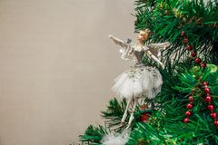 Close up Christmas toy of ballet dancer on tree stock images