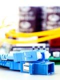 Closeup of fiber optic connector Royalty Free Stock Photography