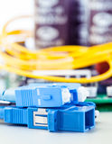 Closeup of fiber optic connector Royalty Free Stock Images