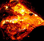 Closeup fiery campfire by night Stock Photography