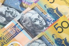 Closeup fifty Australian dollar banknotes. Royalty Free Stock Images