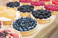 Closeup of fig tart dessert tray assorted Royalty Free Stock Photo