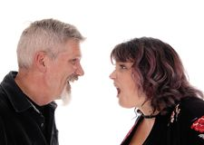 Closeup of fighting middle age couple Royalty Free Stock Images