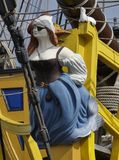 Closeup of figurehead on board vintage sailing ship. royalty free stock photo