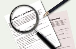 Closeup of filled application of employment Royalty Free Stock Image