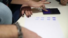 Closeup of fingerprint on paper. Closeup of stamping fingerprint on paper stock footage