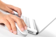 Closeup of fingers on computer mouse. Stock Image