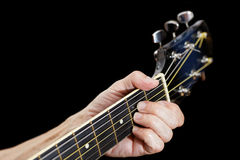 Closeup fingers on guitar neck Royalty Free Stock Photo