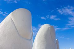 Closeup of the fingers of La Mano, Punta Del Este. Punta Del Este, Uruguay - February 28th, 2018: Closeup of the fingers of La Mano, the sculpture made by Mario Royalty Free Stock Images