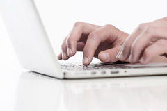 Closeup of Fingers Using Keyboard Royalty Free Stock Photo