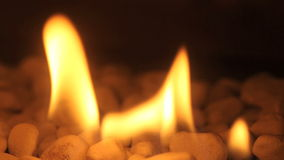 Closeup of fire flames in a chimney stock footage