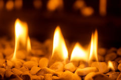 Closeup of fire flames in a chimney Stock Photography