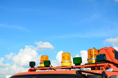 Closeup of fire truck top lights. Against blue sky background Stock Images