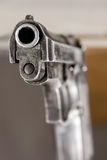 Closeup of firearm. Details of the muzzle of a firearm royalty free stock image