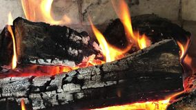 Closeup of a fireplace with flames stock footage