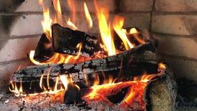 Closeup of a fireplace with flames. Closeup of a fireplace with the flames stock video
