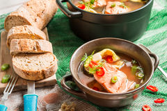 Closeup of fish soup with freshly caught salmon Stock Images