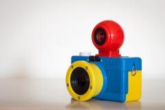 Closeup of Fisheye Baby 110 Bauhaus analog camera Royalty Free Stock Images