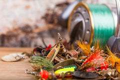Free Closeup Fishing Baits Lures With Reel Stock Photos - 58025833
