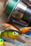 Closeup fishing baits wobblers in box Royalty Free Stock Photo