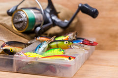 Closeup fishing baits wobblers in box Stock Photography