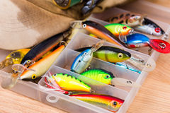 Closeup fishing baits wobblers in box Royalty Free Stock Photography