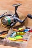 Closeup fishing baits wobblers in box Stock Photos