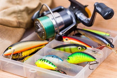 Closeup fishing baits wobblers in box Stock Images