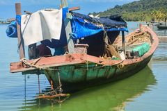 Closeup Fishing Boat with Fabric Roof on Sea Water Royalty Free Stock Photo