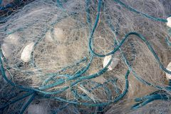 Closeup of fishing net, tidy on the boat Royalty Free Stock Photography