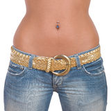 Closeup of fit girl in blue jeans stock images