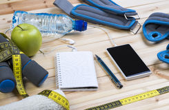 Closeup Of Fitness Equipment And Healthy Nutrition Royalty Free Stock Images