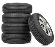 Closeup of five tires Royalty Free Stock Photo
