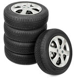 Closeup of five tires. Top view Royalty Free Stock Photography