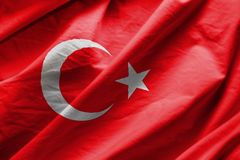 Flag of turkey. Closeup of Flag of turkey royalty free stock photography