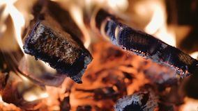 Closeup of Flame in a fireplace stock footage