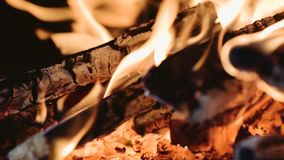 Closeup of Flame in a fireplace stock video footage